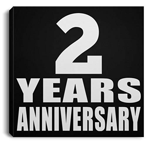 Designsify 2 Years Anniversary - Canvas Square Leinwandbild Rechteckig 20x20 cm Wand-Dekoration - Geschenk zum Geburtstag Jahrestag Muttertag Vatertag Ostern