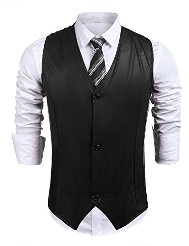 zeela Herren Casual Business Weste Slim Fit Basic Mode Kunstleder Anzugweste Herrenweste Sakko mit 3 Knöpfe (Drei-knopf-weste)