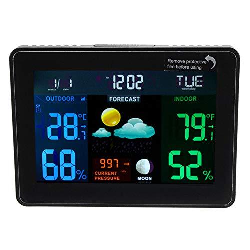HUATXING Funk-Farbwetterstation (Premium-Qualität/HD-Display) mit funkgesteuerter Innentemperatur-Thermometer-Luftfeuchtigkeit,70