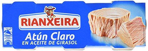 Rianxeira Atún Claro En Aceite De Girasol - Pack de 3 x 52 gr - Total: 156 gr
