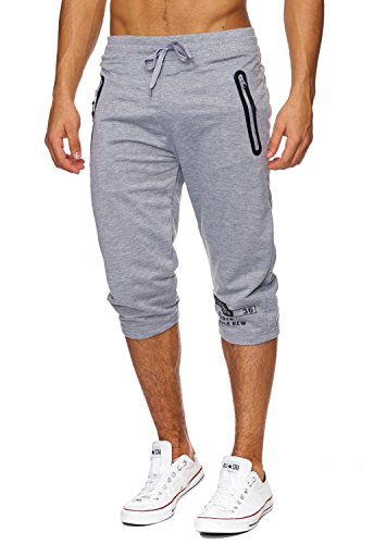 Capris Comfort (Max Men Herren Sweat Shorts (Comfort Fit) kurze sportliche GYM Sweat Pant mit Tunnelzug H1824,Hellgrau,M)