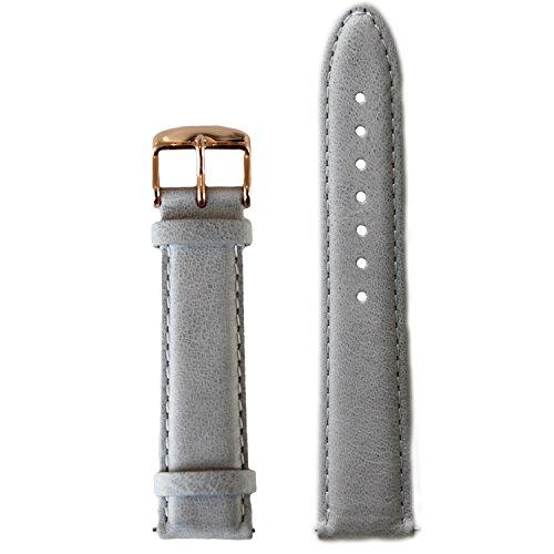 BULLAZO Uhrenarmband mit Schnellwechselfunktion, 20mm, Leder, Grau Roségold