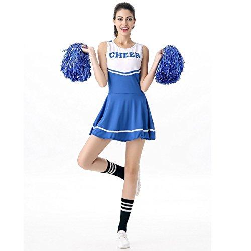 Babyicon Damen Cheerleader Kostüme Uniform Aerobic Sport Verrücktes Kleid Outfit (Blau) (Cheerleader Outfit Für Verkauf)