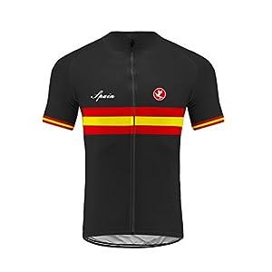 Uglyfrog Maillot Ciclismo Hombre, Spain Raya Designs Maillot Bicicleta Hombre, Camiseta Ciclismo con Mangas Cortas