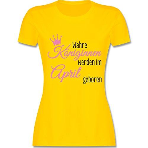 Geburtstag - Wahre Königinnen werden im April geboren - tailliertes Premium T-Shirt mit Rundhalsausschnitt für Damen Gelb