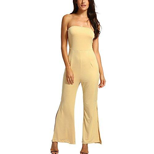 Damen Sexy Schulterfrei Overall Hohe Taille Spielanzug Geteilter Hosen Mode Freizeit Sommer Bleistifthosen Streetwear Rückenfrei Outfit (Beige, L)