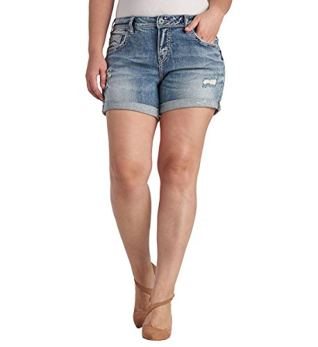 Silver Jeans Women's Plus Size Sam Boyfriend-Fit Mid-Rise Light Wash Short