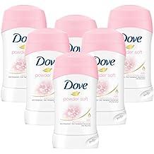 6 unidades de barras desodorantes / antiperspirantes Dove SOFTFEEL de 40 ml. Aroma «Warm