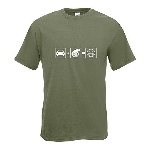 KIWISTAR - Turbo Boost T-Shirt in 15 verschiedenen Farben - Herren Funshirt bedruckt Design Sprüche Spruch Motive Oberteil Baumwolle Print Größe S M L XL XXL Olive