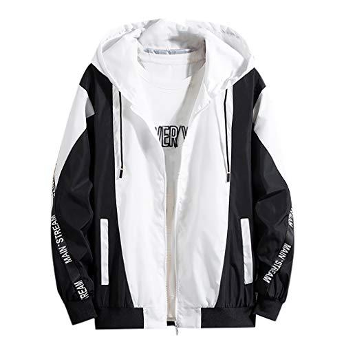 KPILP Herren Übergangsjacke Bomberjacke Windbreaker Color Block Jacke Kapuzen Frühling Herbst Jacke Slim Fit Sport Jacke Outwear Kapuzenjacke Mantel