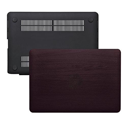 MacBook Pro 13Retina Case (ohne CD-ROM-Laufwerk)–ximeng Smooth Soft PU Leder beschichtet Hard Shell Schutzhülle für MacBook Pro 33,8cm mit Retina Display Red Wood Grain (Macbook Soft-pro Fall)