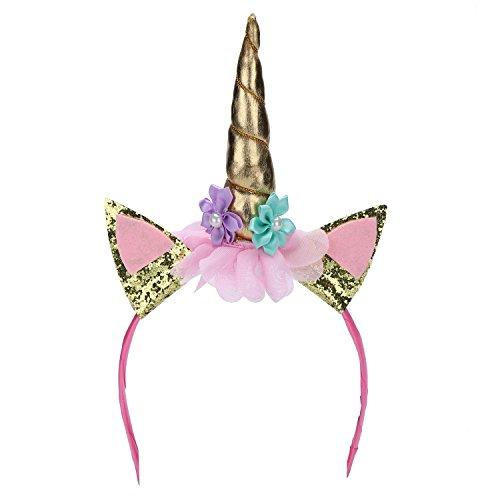 Kinder Haarreif Einhorn-Kostüm-Haarreif Horn Blumen Haarband Fotozubehör für Party Karneval Fasching Halloween (One Size, (Verkleidung Fee Tutu Frauen Für Mit)