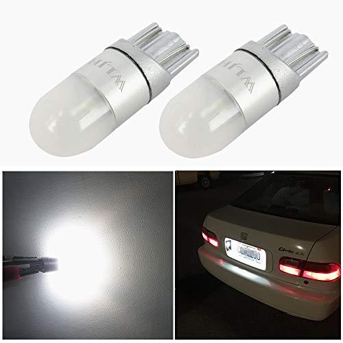 WLJH Super brillant 1W ampoules LED à 360 ° avec lampe de lecture de dôme pour voiture camion Moto Feux de position latéraux Sidemarker lumière T10 W5W Blanc, Lot de 2