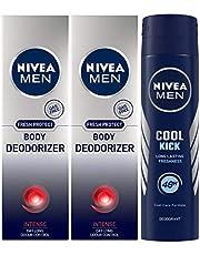 Nivea Men Body Deodoriser Intense, 120ml (Pack of 2) and Men Cool Kick Deodorant, 150ml