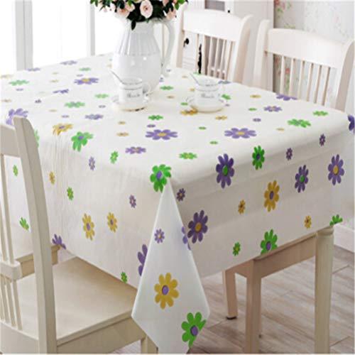 Flybloom Wasserdicht Ölbeständiges Tischtuch Floral Printed Spitze Rand Kunststoff Tischdecken Anti Heißen Kaffee Picknick Matte (Lila Blume)