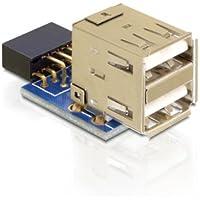 DeLOCK 1 x 9-pin 2.54 mm/2 x USB 2.0-A 1 x 9-pin 2.54 mm 2 x USB 2.0-A Nero, Blu, Argento - 2 Header