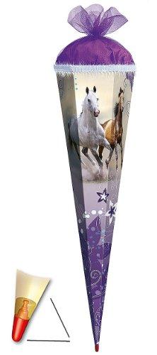 Unbekannt Schultüte - Wildpferde - 35 cm - mit Tüllabschluß - Zuckertüte Roth - Pferde Blumen Pferd Schimmel Araber Hengst -