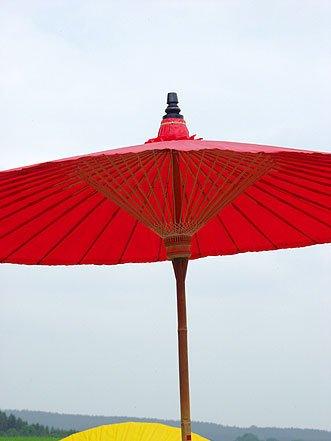 Ars-Bavaria der Extravagante Original Rote Sonnenschirm aus Thailand, Super Robuste Bambus Qualität