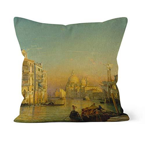 fotobar!style Motivkissen 40 x 40 cm mit Füllung Friedrich Nerly (Nehrlich) - Canale Grande in Venedig.