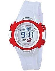 Montre femme quartz digitale blanc sport chrono alarme etanche