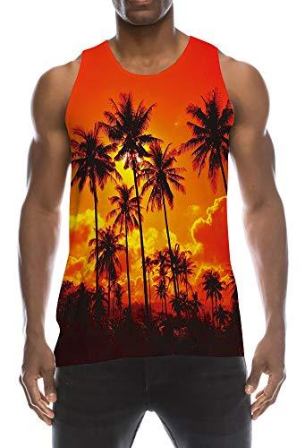 TUONROAD Muskelshirts Herren Lustig 3D Grafik Drucken Hawaii Palm Tree Tanktop Ärmellos Sommer T-Shirts Leicht Tank Top Gym Fitness Bodybuilding Tankshirt Lässig Unterhemden Männer Jungen - L - Tree Print Shirt