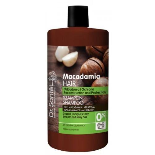 Shampoing Dr. Santé - Au macadamia et à la kératine - 1 000 ml - Pour cheveux abîmés - Sans parabène ni huiles minérales.