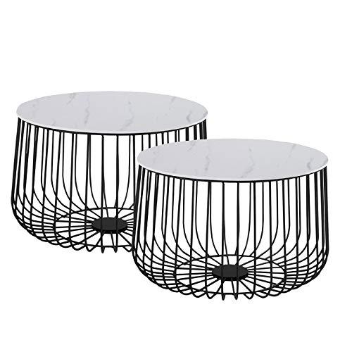 CARO-Möbel Couchtisch Padova Marmor weiß Beistelltisch Wohnzimmertisch im 2er Set, Metallkorb mit Stauraum, Vintage Look - Marmor Tischplatte