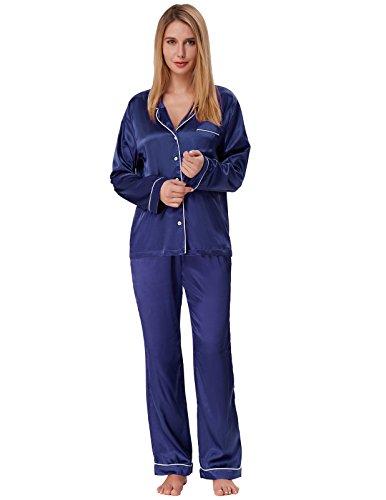 Zexxxy Damen Langarm Pyjama Set Satin Nachtwäsche Marineblau Größe S