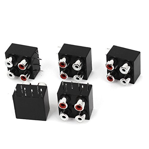PCB mount AV Concentric Outlet 2 Row 4 RCA jack adapter 5 stuks - Rca-jack Pcb Mount