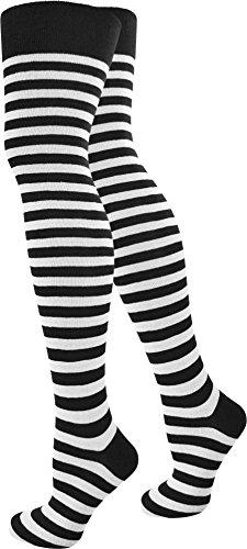 normani® Damen Overknees Über-Knie Strümpfe geringelt in verschiedenen Farben Farbe Schwarz/Weiß/schmal