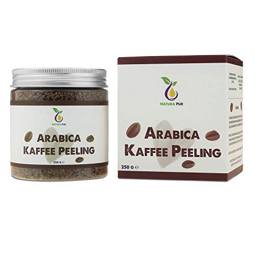 Natura Pur Arabica Kaffee Peeling 250g, vegan - natürliches Body-Scrub Körperpeeling - Anti-Aging Pflege gegen unreine Haut für Gesicht und Körper -