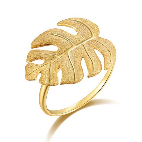 Lotus Fun S925 Sterling Silber Damen Ringe Monstera Blätter Offener Rings Handgemachte Ring für Frauen und Mädchen. (Gold)