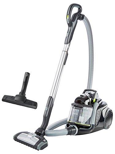 AEG UltraFlex LX8-1-ÖKO ohne Beutel EEK A (800 W, mit Hartbodendüse, 12 m Aktionsradius, Softräder, 1,6 Liter Staubbehälter, waschbarer Hygiene Filter E12) schwarz/grün