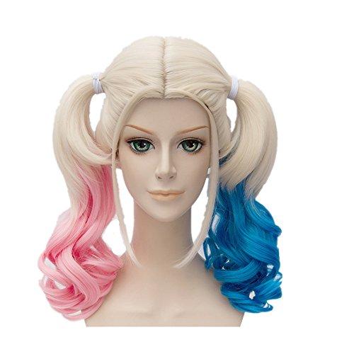 Quinn Mädchen Harley Kostüme (Halloween Perücke Suicide Cosplay Kostüm Wig Rosa Blaue Steigung Pferdeschwanz Haar)
