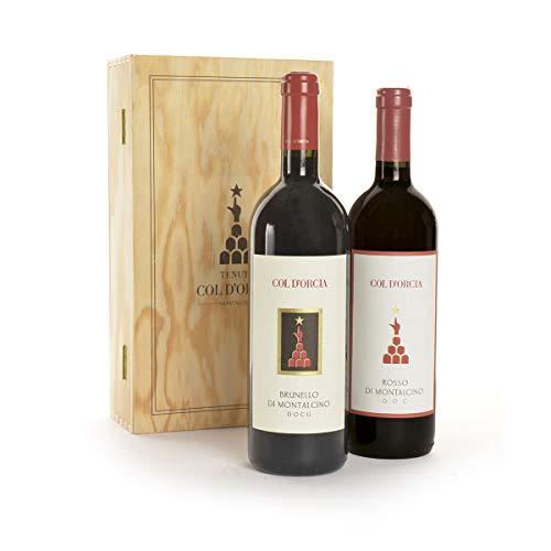 Brunello di Montalcino e Rosso Montalcino in Cassa Legno 2 bottiglie di vino