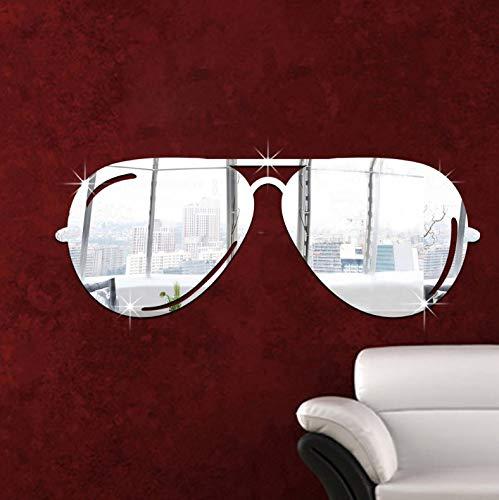 CQMYG Sonnenbrille Acrylspiegel Wandaufkleber dreidimensionale Umweltwandaufkleber Hauptdekoration 20x20cm Silber