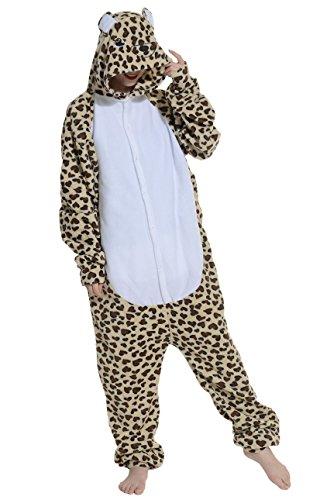Onesies mit Kapuze Erwachsene Unisex Cospaly Schlafanzug Halloween Kostüm Leopard-Bär Geeignet für Hohe 160-175CM ()