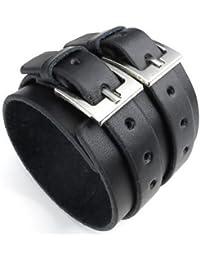 Ancho de cuero para hombre brazalete pulsera, Punk Rock