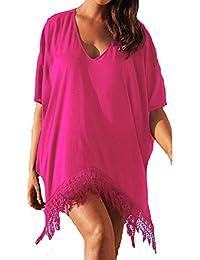 d46e3d37f4 Womens Fashion Plus Size Short Sleeve V Collar Tassel Beach Cover up