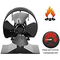 Newest Mini Stove Fan Small SF-524, CRSURE Wood Burner Stove Top Fans for Log Burner, 4-Blade Heat Powered Fireplace Fan for Wood Burning Stove (Small Size, Black)