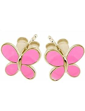SL-Collection Ohrringe Kinderohrringe Schmetterling Neon 925 Silber vergoldet