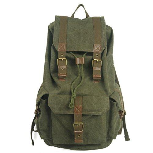 Z&N Backpack 40 Litri Di Capacità Grande Tela Di Alta Qualità Borsa A Tracolla Militare Zaino Rivetto Sacco A Campeggio Da Viaggio All'Aperto Zaino Dello Studente Universitario Zaino Da Daypack B 40L C