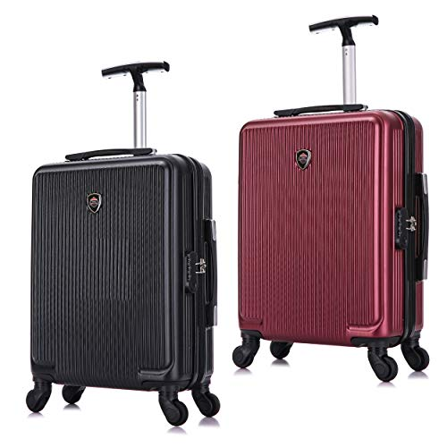 Toctoto 55x40x20cm Lightweight Ryanair Maximum Size Carry On Hand Cabin Luggage Suitcase, Bagaglio a Mano Unisex (Nero+Fuxia)