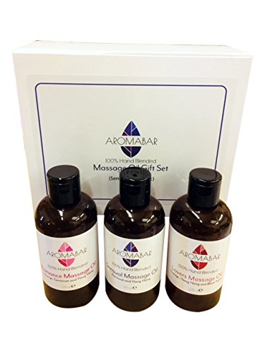 Sensual & Erotic Massage Oil Gift Set (3 x 125ml) Lovers (Orange, Ylang Ylang & Black Pepper), Romance (Orange, Geranium & Ylang Ylang), Ylang & Patchouli Boxed in Luxury White Gift Box Ideal for Couples, Christmas, Valentines or Hen Night Gift