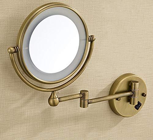 Badezimmer-eitelkeit-wand-spiegel (HCZ Zlgbat Badezimmer-Versorgungsmaterialien WC-Badezimmer-Antike Messing führte Hellen Verfassungs-Spiegel 8 'runde Zwei Seiten 3X / 1X Spiegel-Badezimmer-Eitelkeits-Spiegel-Wand-Berg-Vergrößerungss)