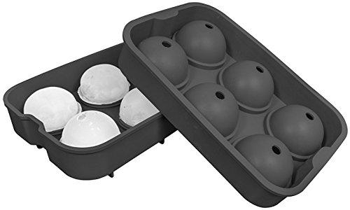 Oishii XXL Eiswürfel-Form aus Silikon für 6 große Eiskugeln Durchmesser: 4,5 cm (Schwarz)