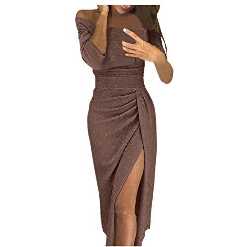 d58b2fb17545 Ginli Vestito Donna Elegante Abito Donna off Spalla Alta Fessura Bodycon  Vestiti Maniche Lunghe Abiti Chiffon