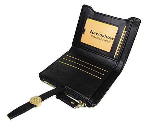 Nawoshow Donne sveglie borsa del portafoglio PU Card Holders cuoio della moneta (Grigio) Nero
