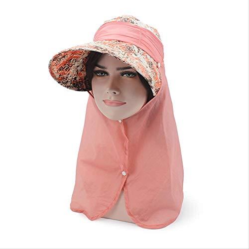 Sonnenhut Für Frauen Sommer-Sommer-Visor-Hut Mit Big Heads Wide Brim Beach Hut Omnibearing Uv Female Caps Face Neck Protection E