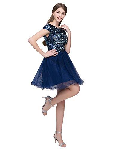 Sarahbridal Damen Tüll Abendkleider Kurz Herzenform Abschlusskleider Ballkleid mit Paillette SSD032 Marine
